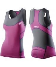 2XU WT2321A-CHR-UVT-XS Дамы уголь и ультра сжатия фиолетовый три синглет - размер XS