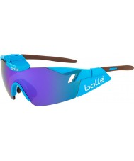 Bolle 6-е чувство AG2R блестящие коричневые сине-фиолетовые солнцезащитные очки