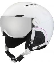 Bolle 31159 Джульетта козырька мягкий белый лыжный шлем с серебряной ружьем и лимонным козырьком - 52-54cm